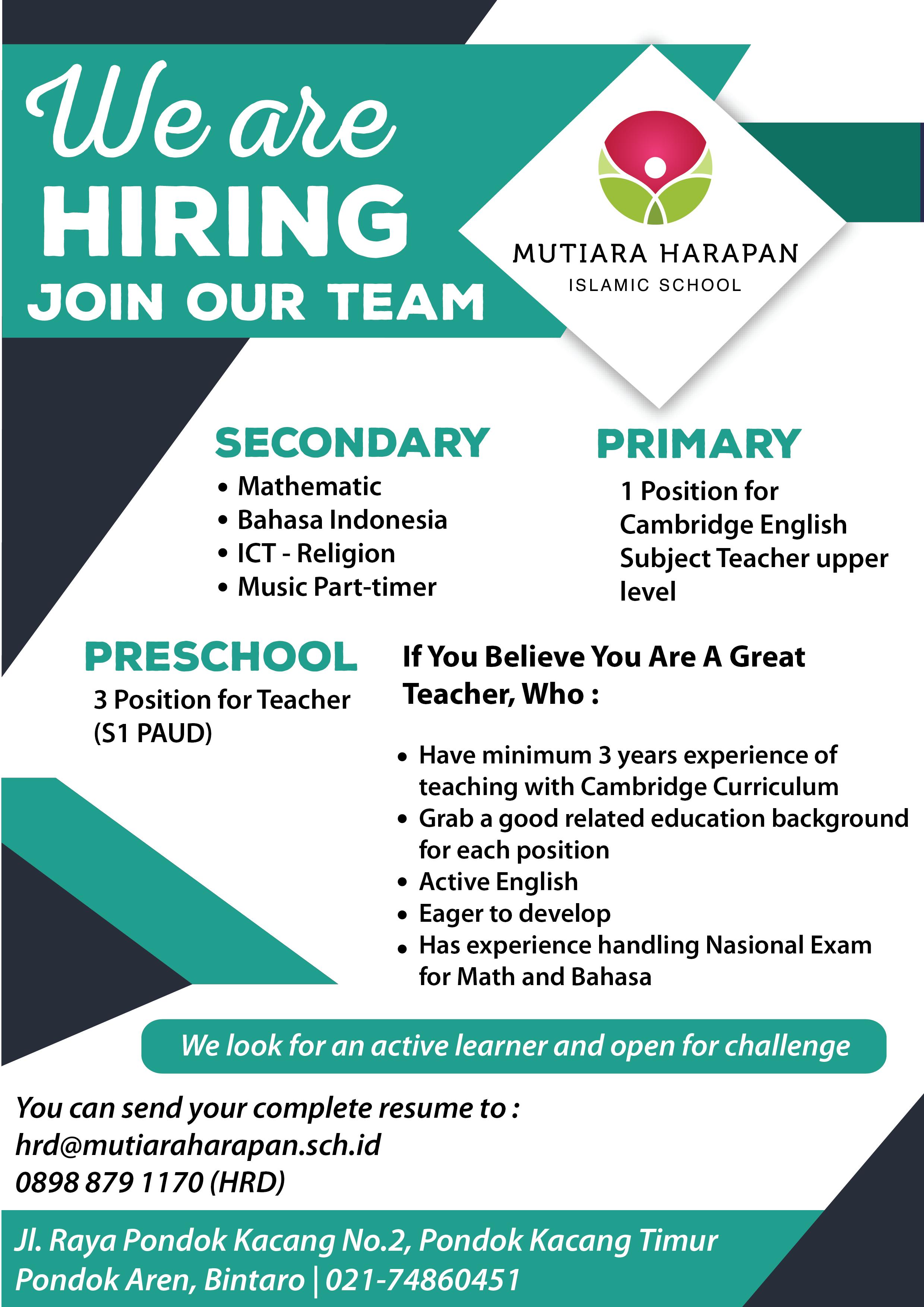 Info Lowongan Kerja Mutiara Harapan Islamic School – Universitas Al Azhar Indonesia