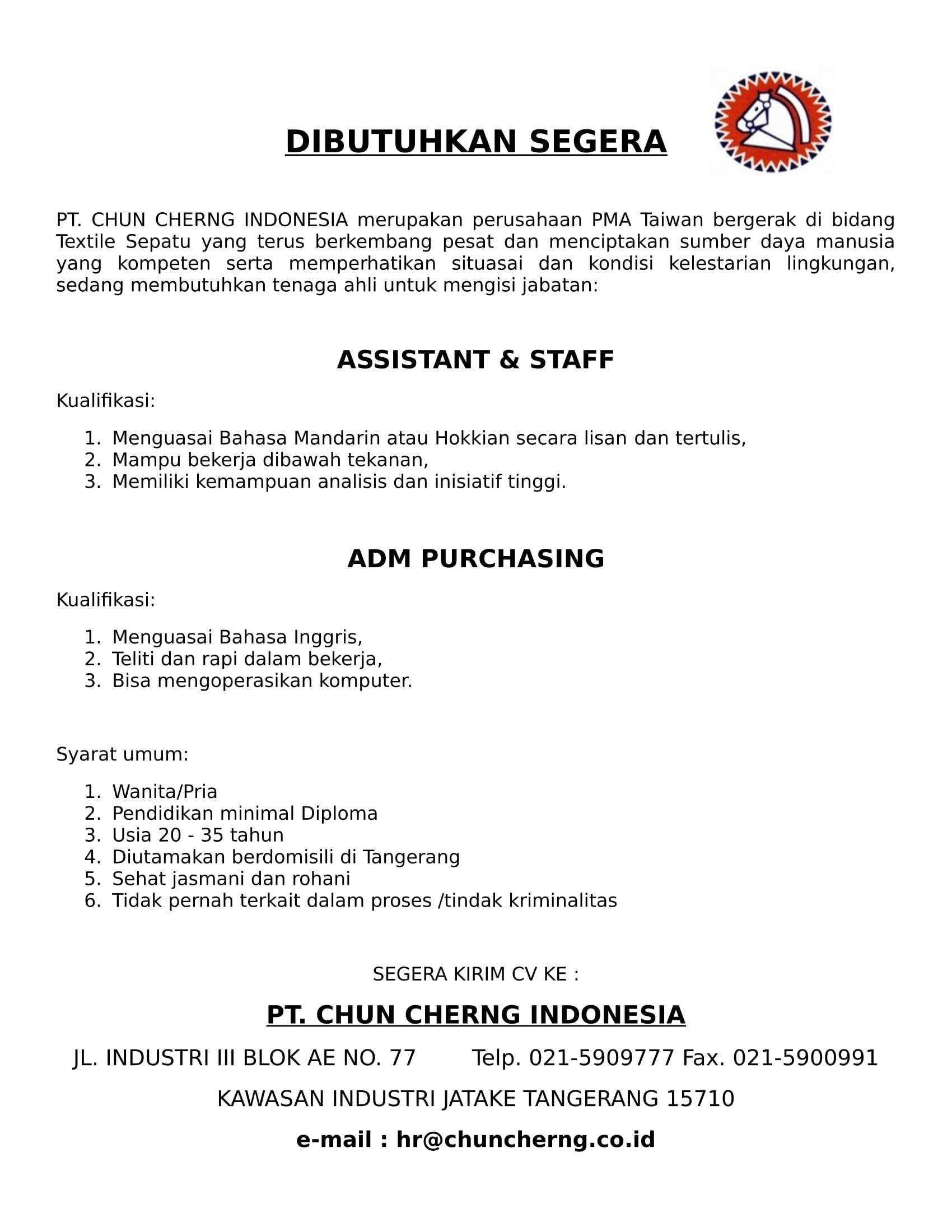 Info Lowongan Kerja Pt Chun Cherng Indonesia Program Studi